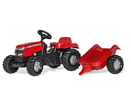 rolly toys | rollyKid Massey Ferguson | Kids Pedal Tractor with Loader and Trailer | 012305