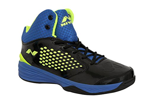 Nivia Men's Warrior-1 PVC Basketball Shoes, 8 UK (Black Blue and Green) (NIVIA17308)