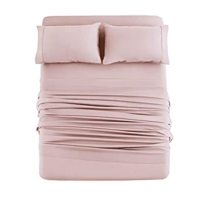 Bed Sheet Set 4 Pieces Brushed Microfiber Luxury Soft Bedding Fade Resistant Full Blush Pink