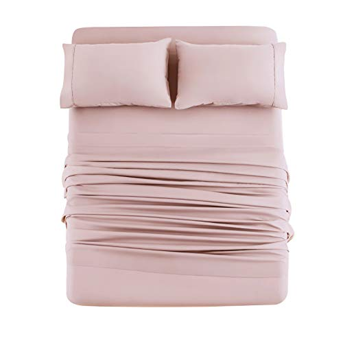 Bed Sheet Set 4 Pieces Brushed Microfiber Luxury with Soft Bedding Fade and Stain Resistant Queen, Blush Pink