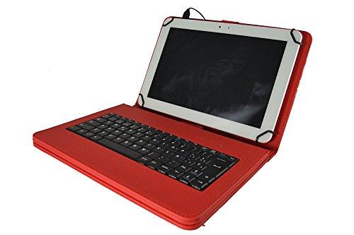 Theoutlettablet® beschermhoes met toetsenbord in het Spaans (inclusief letter Ñ) voor tablet Lenovo Tab 2 A10-30 X30F 10,1 inch, Azul Y Amarillo