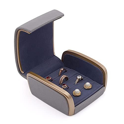 Caja Joyero Jewelry Box, Jewelry Box PU Caja De Cuero Caja Pendientes Caja De Anillo De La Joyería De La Moneda Funda Para La Propuesta, Compromiso Regalo De Boda (gris) Jewelry Organizer