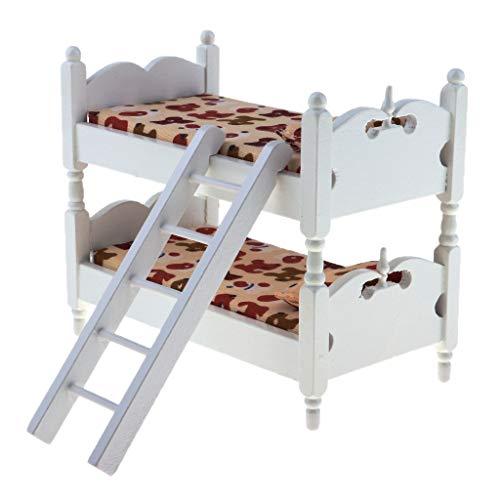 Fenteer 1/12 Puppenhaus Möbel Mini Etagenbett Stockbett Schlafzimmer Puppenstube Zubehör, Kinder Spielzeug - Dackel
