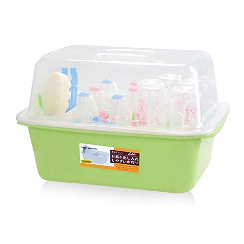 OLizee Baby Bottle Drying Racks with Antidust Cover Large Nursing Bottle Storage Box Baby Dinnerware Organizer Green
