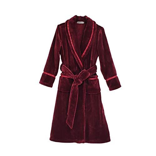 Unbekannt NAN Liang Paar Nachthemd, Bademantel weich und bequem Herbst und Winter Verdickungs- und Lengthening Rotwein (S-3L) (Color : B, Size : XXXL)