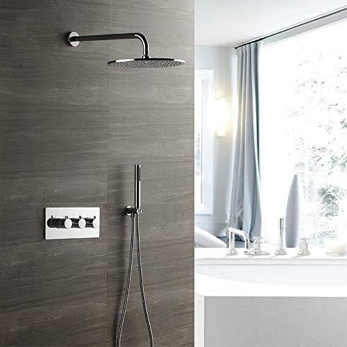 XLTT 30cm redondo termostático conjunto de ducha de cobre grifo de ducha Top Spray 2 tipos de sistema de ducha doméstico montado en la pared plata