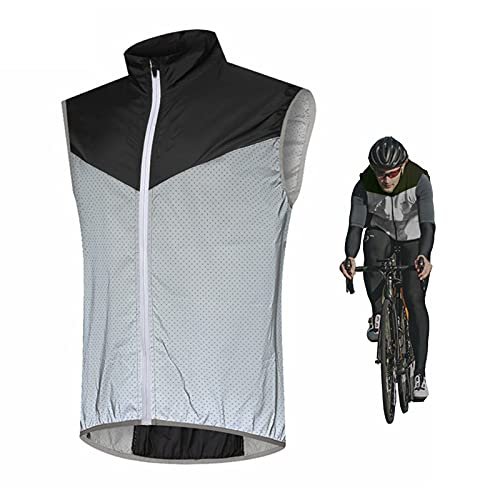 SFITVE Hombre Chaleco Cortavientos de Ciclismo Transpirable Reflectante Ciclismo para Hombre Ligero Impermeable Running para Hombre Chaquetas de Running para Hombre(Size:XX-Large,Color:Black)