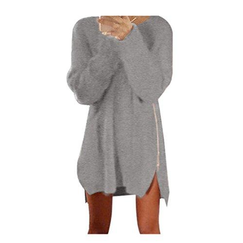 zahuihuiM-Automne Hiver Femmes Coton Zip Chunky Cardigans tricotés Pull Baggy Pulls Robe (S, Gris)