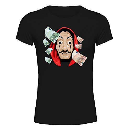 T-Shirt Maglietta Donna La Casa di Carta, Maschera di Dalì, La Casa de Papel Terza Stagione (Nero, XS IT Donna)