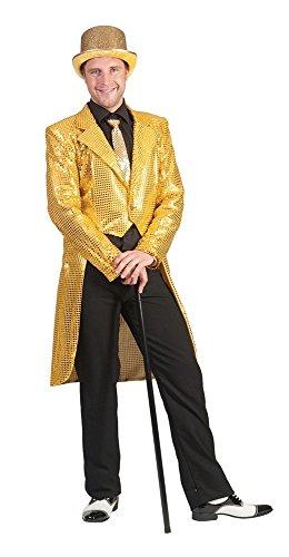 Das Kostümland Pailletten Frack für Herren - Gold Gr. 56 58
