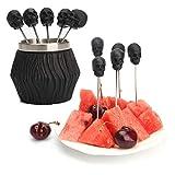 5pcs Fruit Fruit Forks, Acero Inoxidable con diseño de Forma de Esqueleto de Base para el hogar Cocina Party Snack Postre Picks Picks