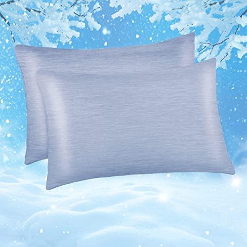 Funda de Almohada de Enfriamiento ARC-Chill, Marchpower 2 Pack 50x66cm con Fibra de Enfriamiento Japonesa Q-MAX0.43, Transpirable, Suave, Anti Estático,Cremallera Oculta y 2 Caras,Cuida Cabello-Azul