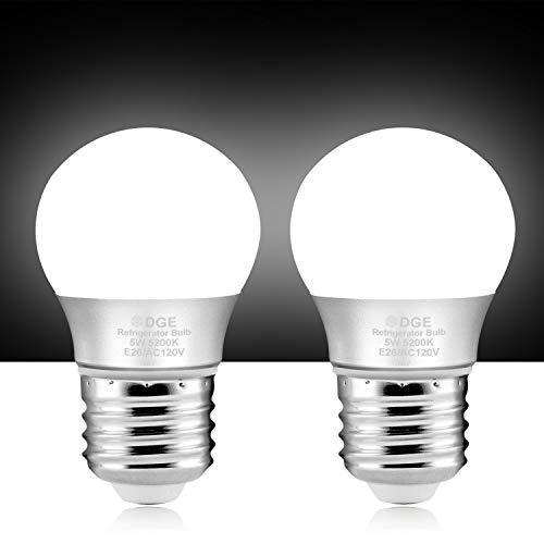 DGE Bombilla de nevera mejorada de larga duración para uso especial, 5 W, 500 lúmenes, 5200 K, bombilla LED de gran valor para...