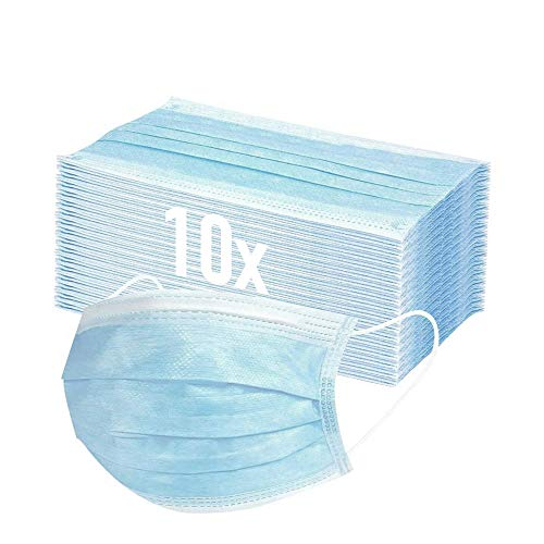 Mund und Nasenschutz 10x Masken Mundschutz Einweg 3-lagig Gummizug Mundschutz Maske Staubschutz EN14683, Hersteller BOSSN MCCONS @ DECADE Mund Nasen Schutzmaske Gesichtsmaske