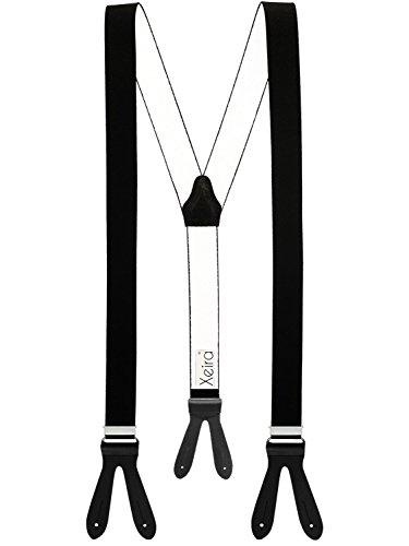 Xeira Hosenträger Schwarz mit Schwarzen Lederriemen zum Knöpfen für Herren und Damen Normale Länge 110