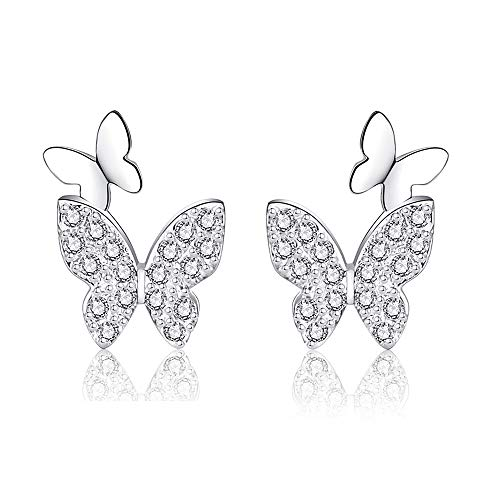 Pendientes de botón de mariposa para mujer en plata de ley 925 con circonita cúbica de cristal, Joyería de aretes de moda de mariposa 3D regalos para mujeres y niñas