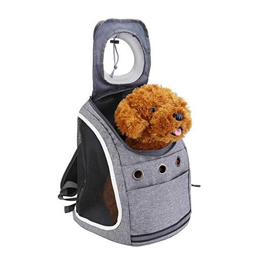 Filhome Hunderucksack Katzenrucksack für Katzen und Hunde Welpen Atmungsaktive Haustier Rucksäcke mit Mesh Fenstert und Front Opening bis 6kg (Grau)