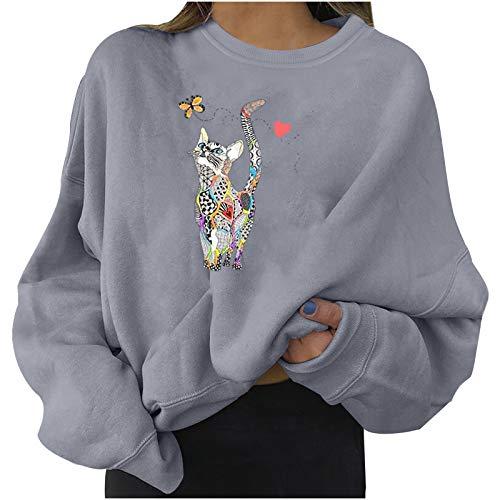 N-B Sudaderas Mujer Cuello Redondo Casual Bonitas Estampado de Mariposa y Gatos Manga Larga Deportivas Algodn Tallas Grande Top de Jersey Moda de Mltiples Fines Camisa Bsica Chandal S- 3XL