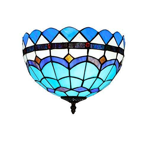 WTTWW Luz de Techo del dragón de Tiffany 30CM del Restaurante Lámpara del Dormitorio de Techo del Pasillo del Pasillo baño de luz de Techo esmaltado Azul del vitral de Tiffany