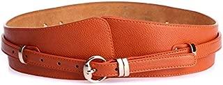 MYCHOMEUU Ladies Belt Leather Girdle Casual Joker Pin Buckle Wide Belt (Color : Orange)