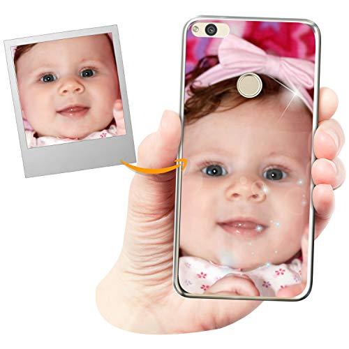 Funda móvil Personalizada con Efecto Brillante para Huawei P8 Lite 2017 / Nova Lite con Tu Foto, Imagen o Frase - Funda Blanda en TPU Gel Transparente - Impresión de máxima Calidad