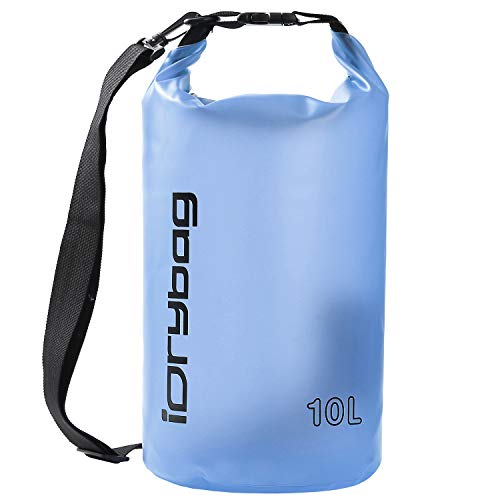 IDRYBAG Clear Dry Bag Waterproof Floating 2L/5L/10L Lightweight Dry Sack Water Sports Marine Waterproof Bag Roll Top for Kayaking Fishing Boating Canoeing Swimming Hiking Camping Rafting