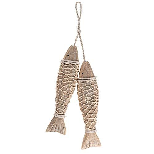 MDLUU Wooden Fish Wall Art, Large Wood Fish 32cm, Hand Carved Fish Hanging Decor, Decorative Fish...