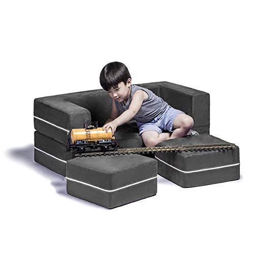 Jaxx Zipline Modular Kids Loveseat & Ottomans/Fold Out Lounger, Charcoal