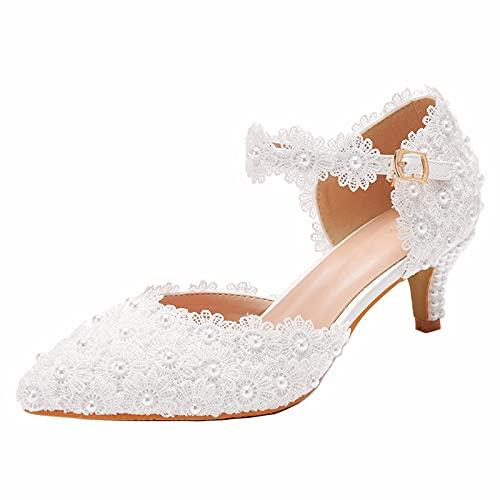Zapatos de Boda de Novia para Mujer Puntiagudos Perla Flor Satén con...
