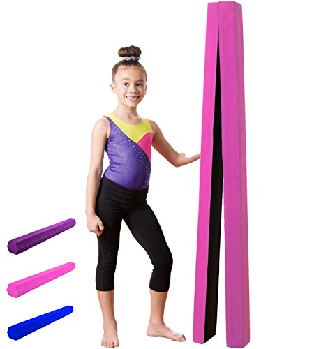 Gymnastics Balance Beam: Low Profile, Soft, Folding Floor Gymnastics Equipment for Kids | Suede Like Exterior, Non Slip Rubber Base for Training, Practice, Physical Therapy and Home Use - 10 Feet