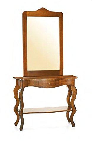 Console d'entrée en bois avec 1 tiroir et miroir.