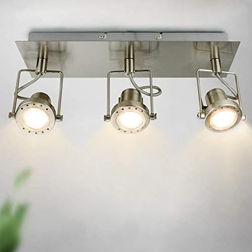 Depuley Lámpara de techo con 3 focos orientables GU10, luz blanca cálida con placa cuadrada, para salón, dormitorio, bombilla incluida
