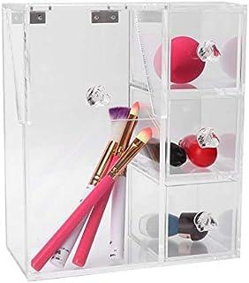 Fdit Outil de Maquillage de Brosse de Coton-Tige en Acrylique Transparent Organisateur de Support de boîte de Rangement de...