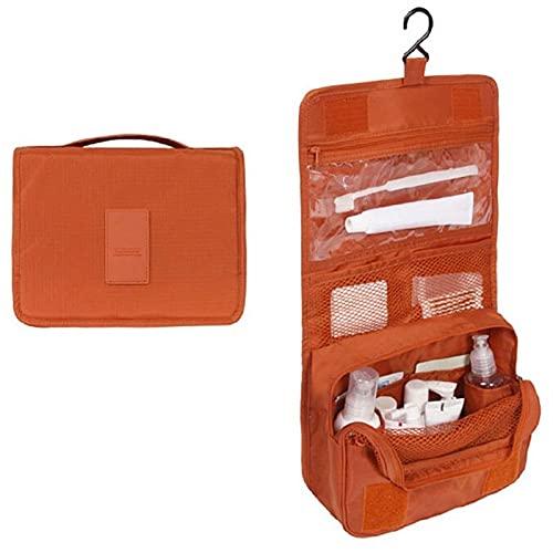BHUYGV Bolsa de Almacenamiento de Cosméticos para Hombres y Mujeres Bolsa Organizadora Colgante Plegable para Aseo Personal Estuches Portátiles (Color : Orange, Size : 24x19.5x9.5cm)