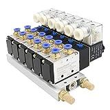 Heschen - Válvula solenoide eléctrica neumática 6 4V210-08 DC 24V PT1/4 5 Vías 2 Posición Manifold Base Muffler Quick Fittings Set