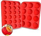 Walfos Molde para muffins de silicona de 12 cavidades y Molde para magdalenas mini de silicona de 24...
