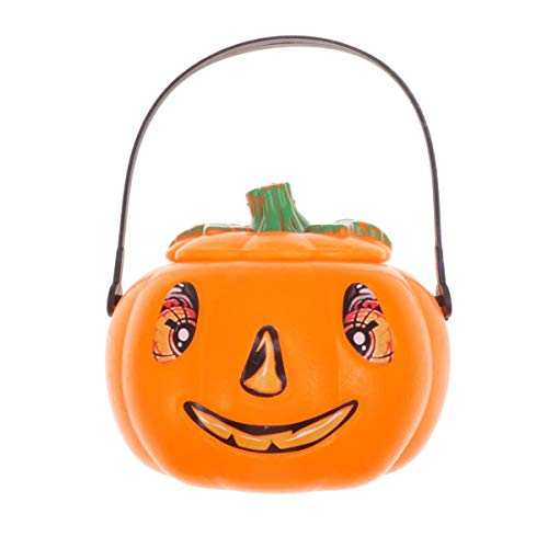 Iwinna Halloween Pumpkin Bucket Candy Bag Jack O Lantern Jar Candy Buckets Gift Bag Goodie Gift Bags for Kids Halloween Party Decorations (with Electronic Candle)