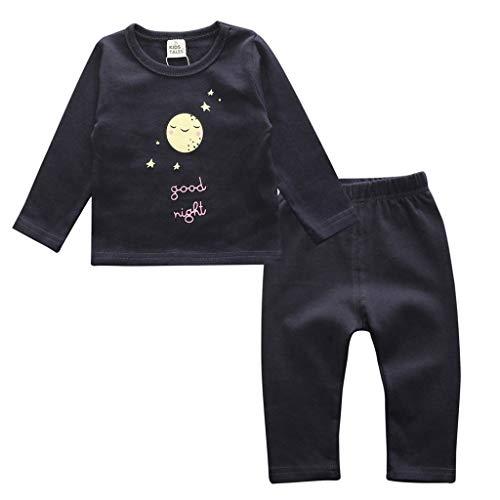 Ensemble de Pyjama en Coton Little Kids Boys pour Filles Vêtements de Nuit géométriques à Manches Longues Ensemble de vêtements de Nuit 2 pièces(F,12-18 Mois)