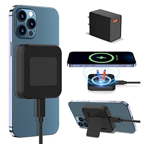 LK Cargador Inalámbrico Magnético,Cargadores de Cargador de inducción Plegables, Rápido Wireless Charger para iPhone 12/12 Mini/12 Pro/12 Pro MAX y Todos los Dispositivos Qi (con Adaptador QC 3.0)