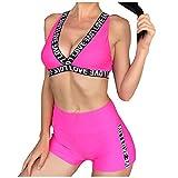 Atezch Women Tow-Piece Swimsuit Letter Print Sport Yoga Bikini Set Beach Swimwear (Red, L)