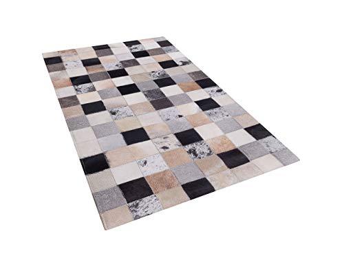 Beliani Moderner Teppich Rindsleder Patchwork 80 x 150 cm Rize