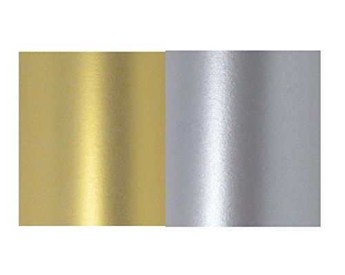 20 hojas de papel A4 de color plata real y dorado perlado, doble cara, 120 g/m², apto para impresoras de inyección de tinta y láser, 10 de cada una.