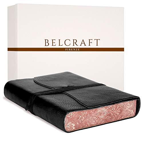 Venezia Romantica mittelgroßes Notizbuch aus Leder, Handgearbeitet in klassischem Italienischem Stil, Geschenkschachtel inklusive, Tagebuch, Lederbuch (12x17 cm) Schwarz