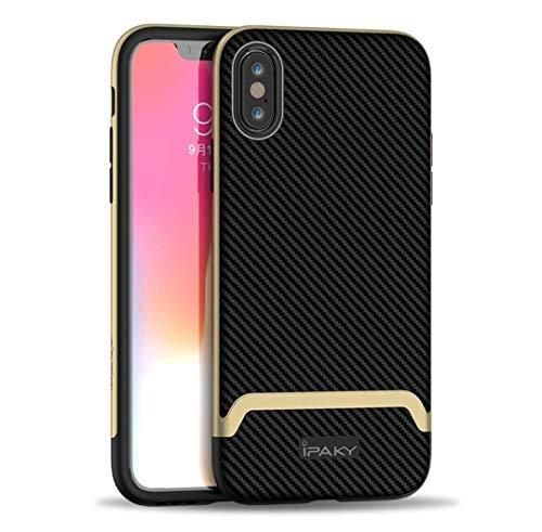HEP ENTREPRISES 2 in 1 TPU PC Fibra di Carbonio Custodia iPhone X/XS, 5,8'' Impermeabile alla polvere, Durevole Luce Antiurto Cover Slim Fit Protezioni iPhone X XS (X/XS, Oro