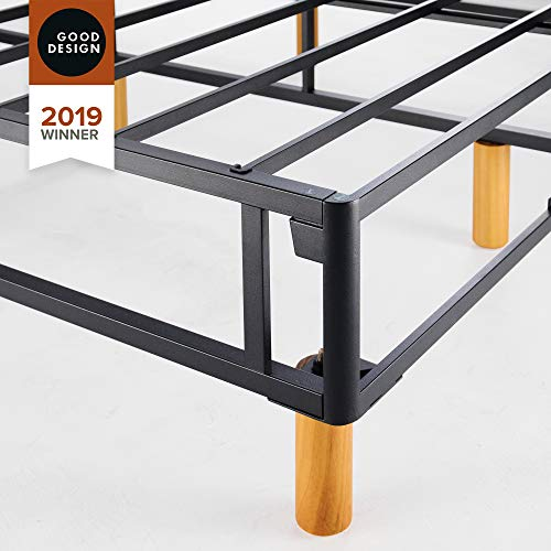 Zinus Justina Quick Snap Standing Mattress Foundation / Platform Bed / No Box Spring Needed / Grey, Queen