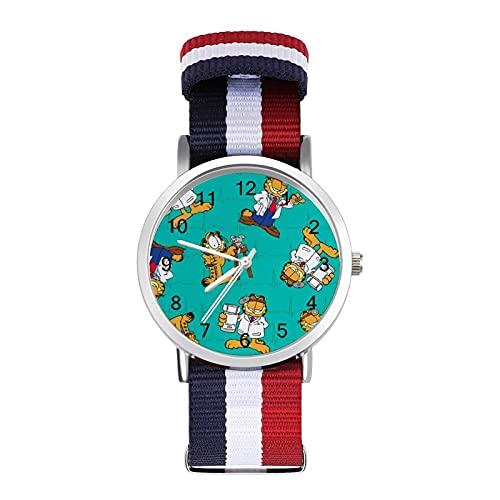Los relojes Garfield son impermeables, versátiles, informales, estudiantes, hombres, mujeres, deportes, moda y temperamento simple anime dibujos animados