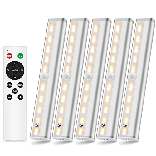 SZOKLED Wireless LED Under Cabinet Light Bar Remote Control Closet Lights Battery Operated Stick on Portable Magnetic Lighting for Kitchen Wardrobe Hallway Stairs, Timer & Dimmable Mixed White