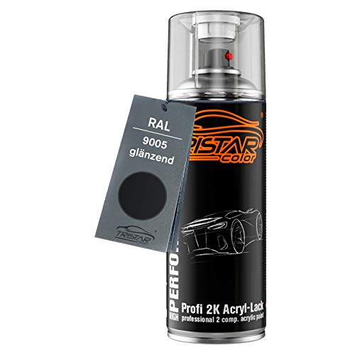 RAL 9005 Tiefschwarz glänzend 2K Acryl Spraydose Sprühdose Sprühlack Spritzlack 400 ml schnelltrocknend