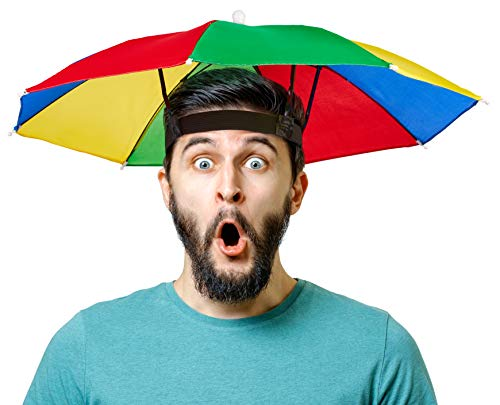 Balinco Faltbarer Regenschirm | Sonnenschirm-Hut | Sonnenschutz - Kopfbedeckung für Erwachsene & Kinder - perfekt für Karneval | Fasching | Festival | Strand & Outdooraktivitäten - Einheitsgröße