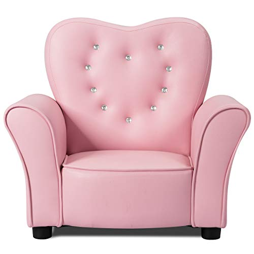 INFANS Children Sofa Pink, Kids PVC Leather Upholstered Couch with Bejeweled Backrest, Sturdy Wood Frame, Extra Thick Sponge, Multifunction Toddler Armrest Chair, Pink (33-Inch Twins Sofa)
